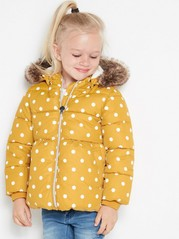 Patterned puffer jacket with fake fur Yellow