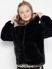 Fake fur jacket with hood Black
