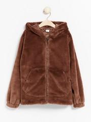 Fake fur jacket with hood Brown