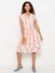 Mønstret kjole med knytebelte Rosa