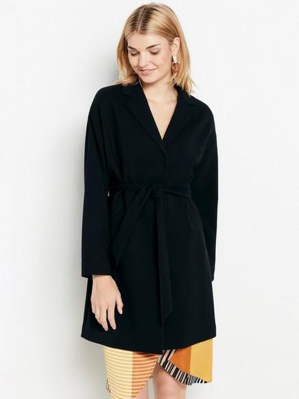 Coat with tie belt  Black