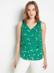 Sleeveless Blouse with Tassels  Green