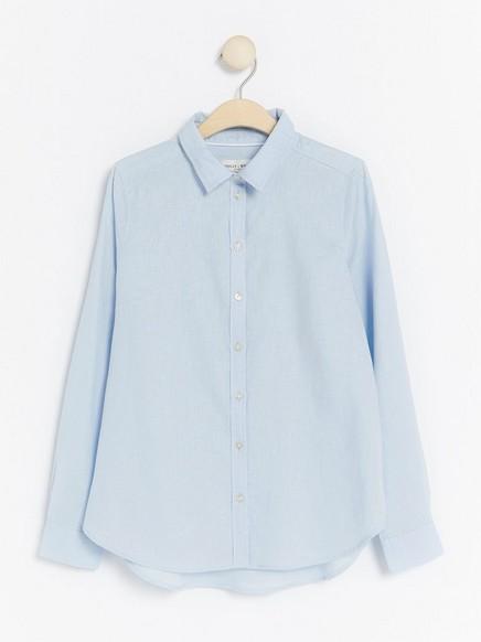 Skjorte i linblanding Blå