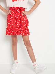 Red Floral Wrap Skirt  Red