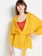 Satin Kimono with Tie Belt  Yellow