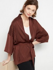 Satin Kimono with Tie Belt  Brown