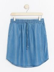 Short Lyocell Denim Skirt  Blue