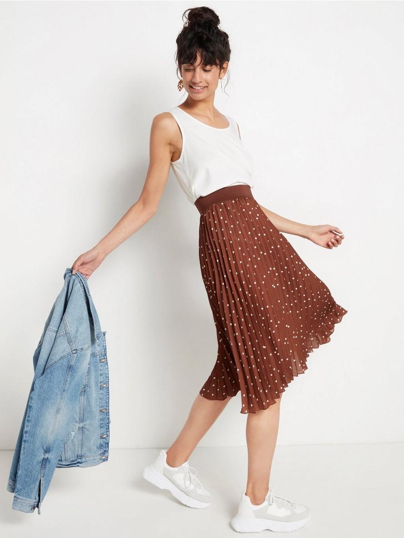 Plisserad mönstrad kjol  Brun