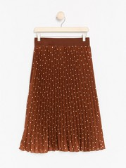 Patterned Pleated Skirt  Brown