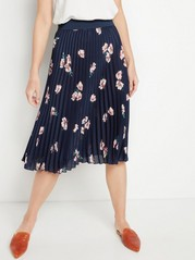 Patterned Pleated Skirt  Blue