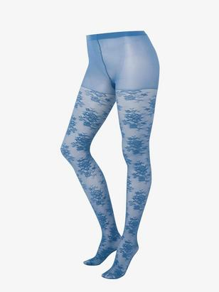 Matt Tights with Pattern, 40 Denier Blue