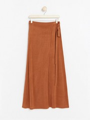 Knitted Brown Wrap Skirt  Yellow
