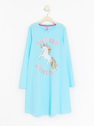 Night Dress with Unicorn Turquoise