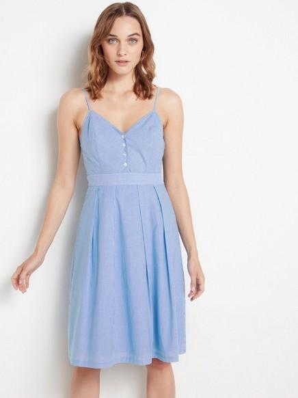Stripet, ermeløs kjole Blå
