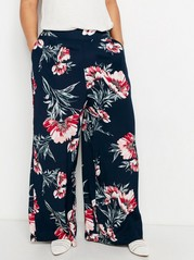 Wide Floral Trousers with High Waist  Blue