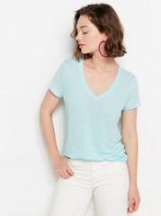 V-neck Linen Top  Mint