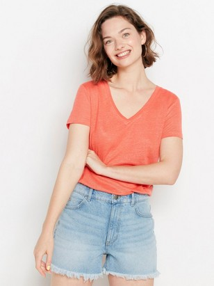 V-neck Linen Top  Orange