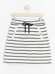 Patterned Cotton Skirt  White