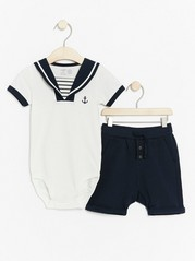 Sailor Set with Bodysuit and Shorts Blue