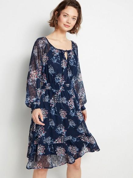 Blå chiffonkjole med blomster Blå