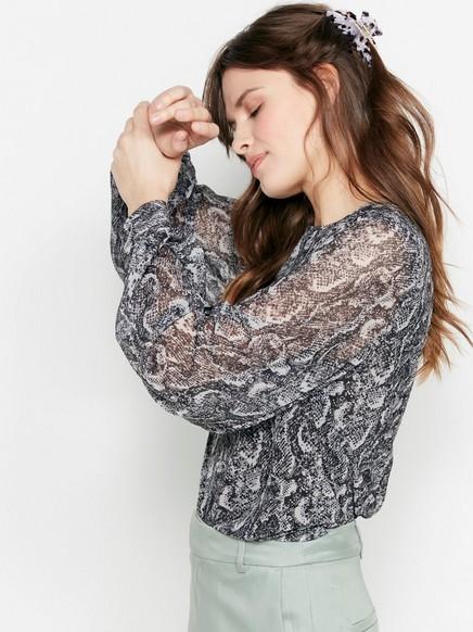 Kuviollinen mesh-pusero Musta