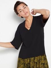 Short sleeve v-neck top  Black