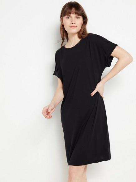 Musta lyhythihainen mekko lyocell-sekoitteesta Musta