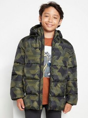 Padded jacket with reflective fabric Green