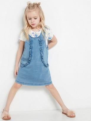 Denim jersey dress with frills Blue