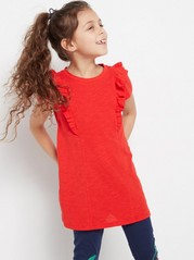 Tunic with Flounce Red