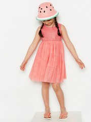 Dress with Tulle and Sequins Pink