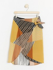 Patterned Wrap Skirt  Orange