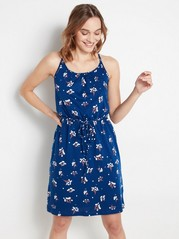 Cotton dress with braided tie bands  Blue