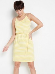 Cotton dress with braided tie bands  Yellow