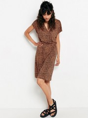 V-neck dress in lyocell blend  Brown