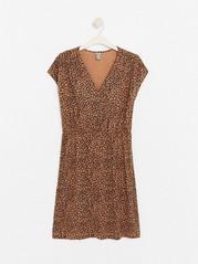 V-ringad klänning i lyocellblandning  Brun