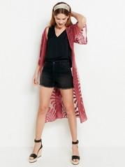 Kirjailtu kimono mesh-kankaasta Vaaleanpunainen
