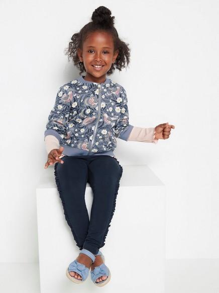Tummansiniset leggingsit, joissa röyhelöreunat sivuilla Sininen