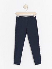Dark navy leggings with side frill trims Blue