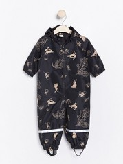Patterned black shell overall Black