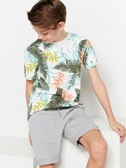 T-shirt with Leaf Pattern Orange