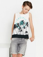 Tank Top with Palm Trees and Puff Print White