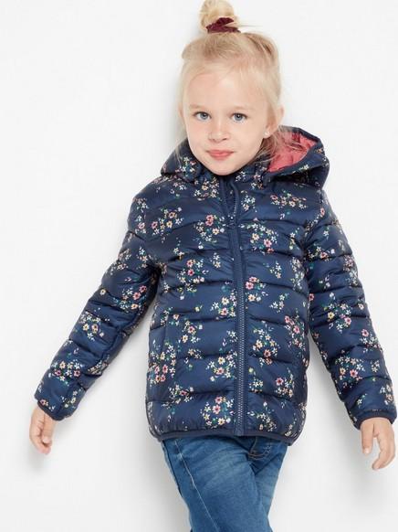 Lett polstret jakke med blomstertrykk Blå