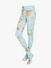 Floral Tights, 50 Denier Blue