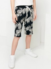 Patterned Sweatshirt Shorts Black