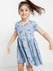 Floral Dress with Crochet Lace Edge Blue