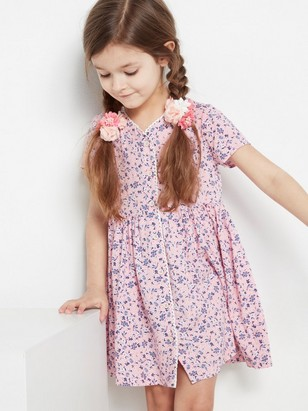 Floral Dress with Crochet Lace Edge Pink