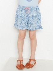 Patterned Shorts with Flounce Blue