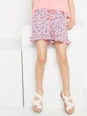 Kuviolliset shortsit, joissa röyhelöitä Vaaleanpunainen