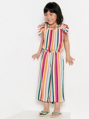 Striped Jumpsuit with Embroidery Pink
